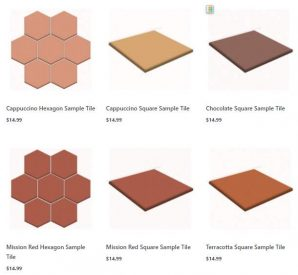 12 x 12 tile samples Terratile clay tiles terracotta distributor manufacture wholesale dealer bulk prices construction custom remodel project residential commercial house building